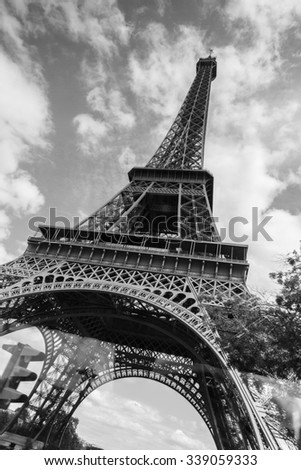 Close up Eiffel Tower in Paris, France