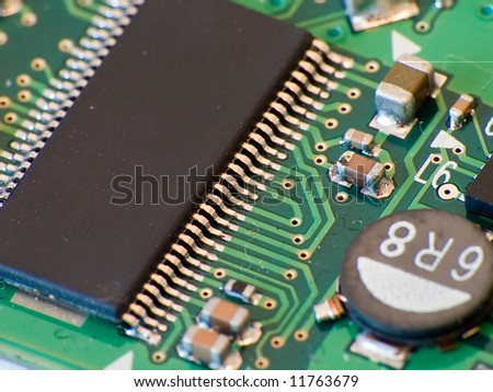 Close up electronics parts on green board  (electronic series)