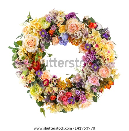 Close up Elegance flower Garland isolated on white - Artificial - stock photo