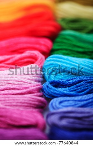 Close up embroidery floss, rainbow colours