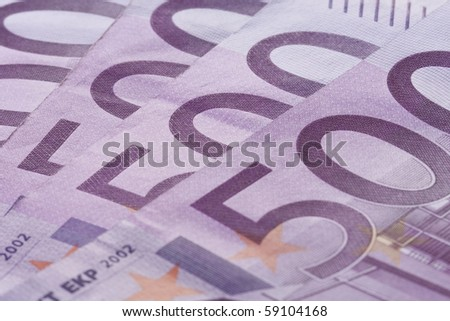 Close-up 500 euro banknotes background. - stock photo