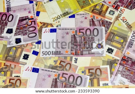 Close-Up Euro Banknotes Mix - stock photo
