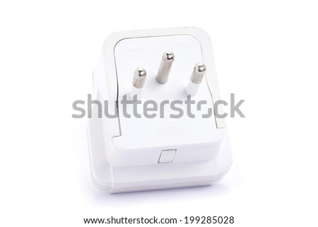 Close up European adapter plug isolated on white background - stock photo