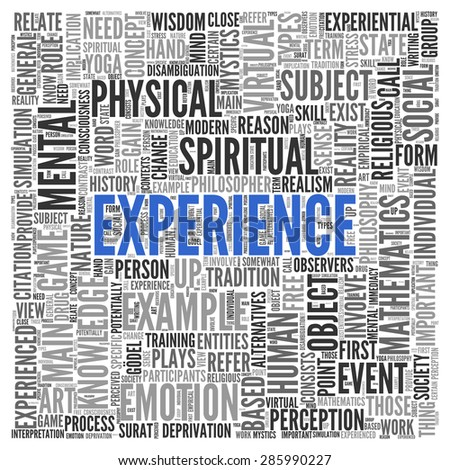 Close up EXPERIENCE Text at the Center of Word Tag Cloud on White Background.