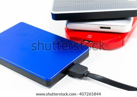 close up External Hard disk drive with cable isolated white  - stock photo