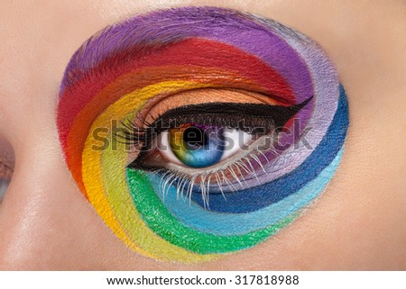 Close up eye with artistic rainbow make up. Colors and colorful. Joy. Artistic and fashion make up. Make up addiction. Cosmetics. On stage make up - stock photo