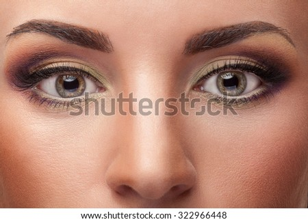 Close up eyes with make up on healyhy skin. Make up addiction. Make-up and eyebrows. Classic make up. Beauty and fashion make up - stock photo