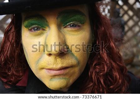 Close up face majician clown circus man - stock photo