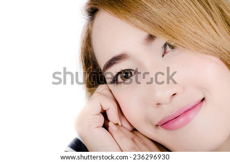Close up face of Asian woman isolated on white. - stock photo