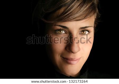 Close-up face of beautiful smiling girl - stock photo