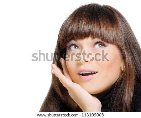 Close-up face of ecstatic woman isolated on white background