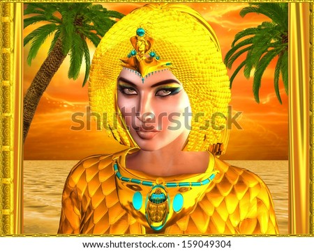 Close up face of Egyptian royal woman with palm trees in background against an orange sunset sky and ocean. Can depict Cleopatra, Nefertiti, Hatshepsut or any Ancient Egyptian female pharaoh or queen. - stock photo