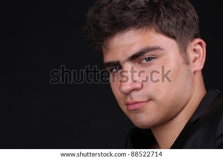 Close up face of man over dark