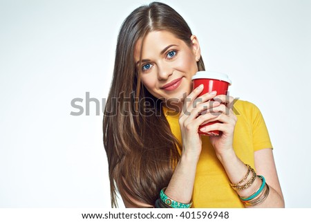 Close up face portrait smiling girl holding coffee cup. Beautiful young woman. Long hair.