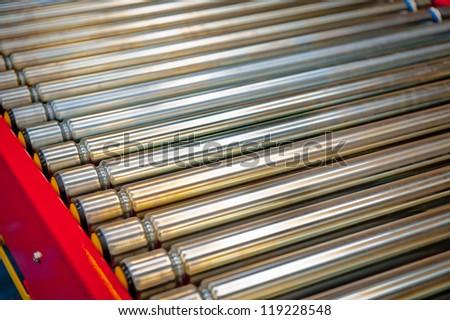 Close up Factory Conveyor Belt - stock photo