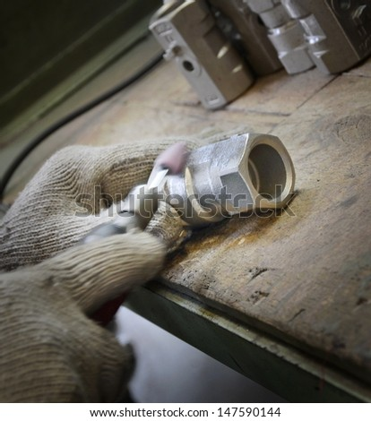 Close-up factory production products - stock photo