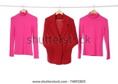 Close up fashion colorful shirt rack - stock photo