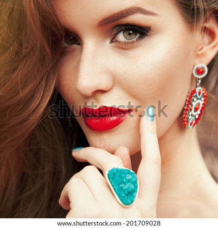 Close up fashion portrait of young beautiful blonde woman with bright make up full lips and glossy red lipstick. - stock photo
