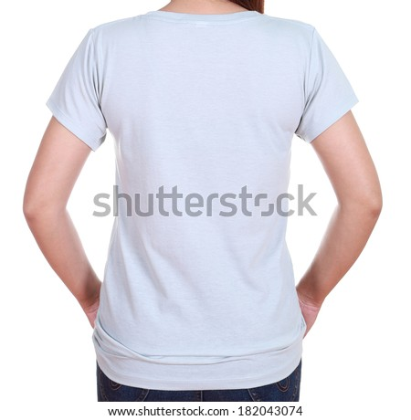 close-up female with gray blank t-shirt (back side) isolated on white background