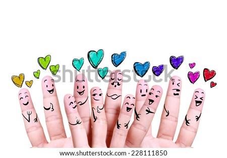 close up finger of social love symbol - stock photo