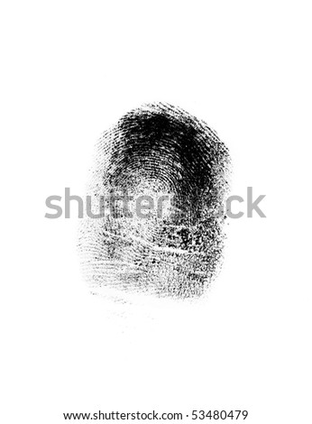 Close up finger-print on the white background