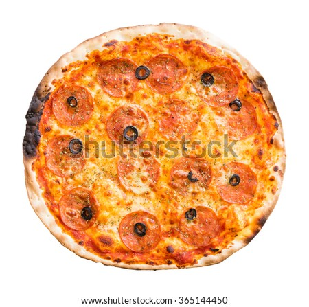Close up fire oven salami and black olive sliced pizza isolated on white