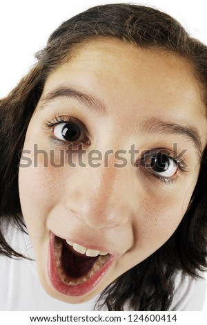 Close up fish eye view of an opened mouth young teen girl stock