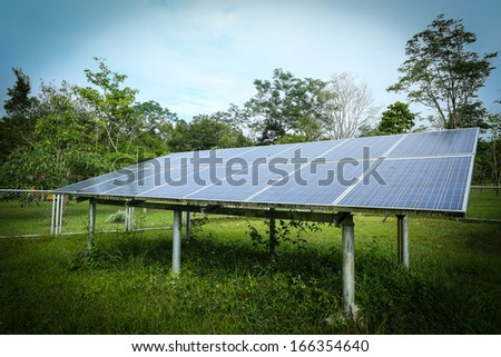 Close up fix solar cell in Thailand National Park - stock photo