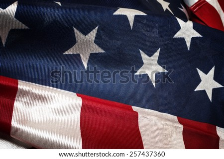 Close up flag of United State of America - stock photo