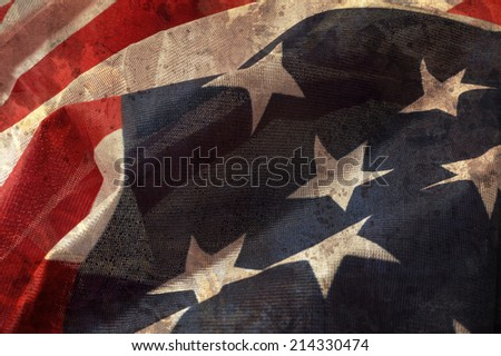 Close up flag of United State of America overlaid with grunge texture. - stock photo