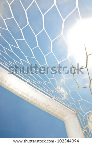 Close up football goal - stock photo