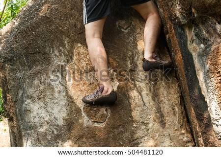 closeup male feet run through rocky stock photo 365556992