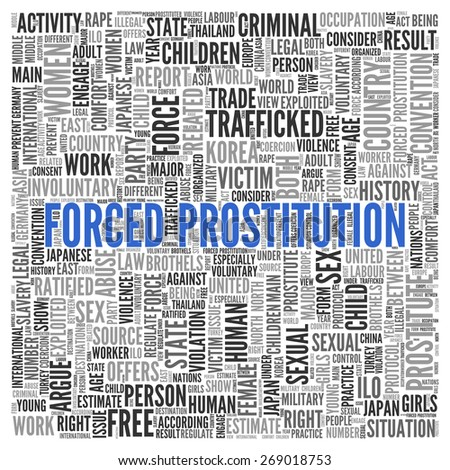Close up FORCED PROSTITUTION Text at the Center of Word Tag Cloud on White Background.
