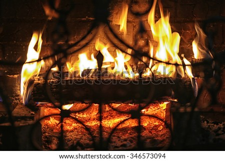 close-up fragment of forged grate on a background of flames