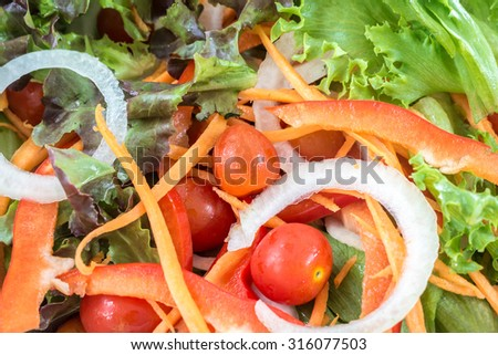 Close up fresh mixed vegetables salad