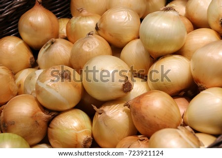 Close up. fresh onion in supermarket