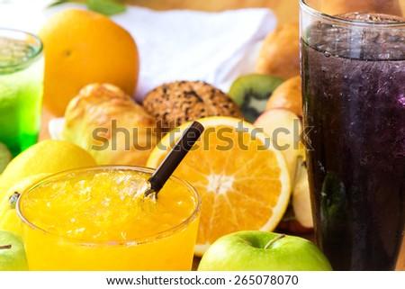 Close-up Fresh orange and grape Juicy - stock photo