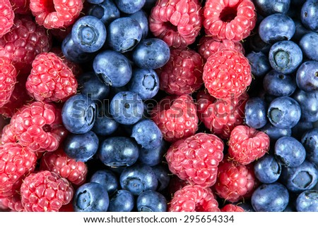 Close up Fresh Organic  Blueberries and Raspberries. Rich with vitamins Background, texture. - stock photo