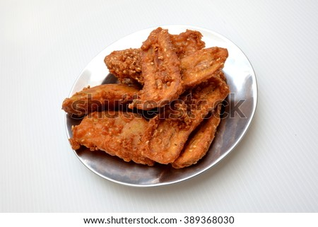 Close up fried bananas sprinkled sesame tasty traditional food - stock photo