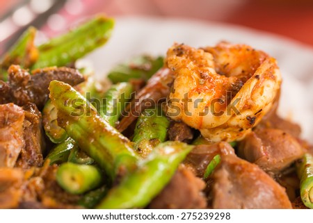 Close up Fried chilly paste with shrimp