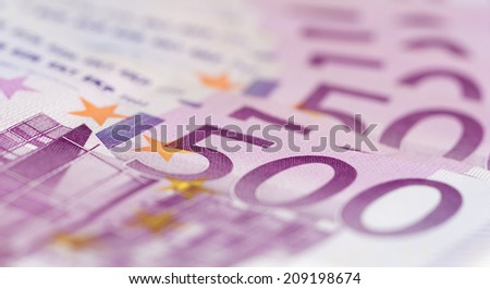 Close up from stack of money with 500 euro banknotes. Perfect for illustrating e.g. wealth, lottery prizes or banking crises. What is your dream - stock photo