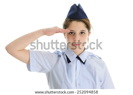 Close up, front and center image of a saluting Jr. ROTC teen girl in uniform.  On a white background.