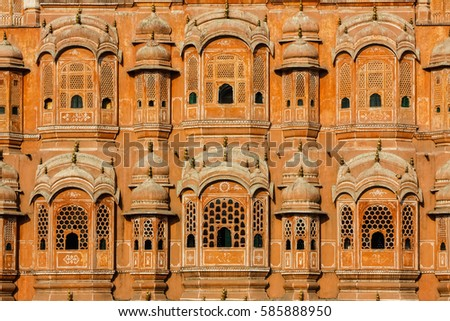 Close up front view of the famous Palace of Winds or Hawa Mahal, Jaipur, India