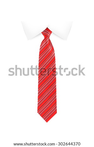 Close up front view of tied up red striped necktie on a shirt collar, isolated on white background. - stock photo