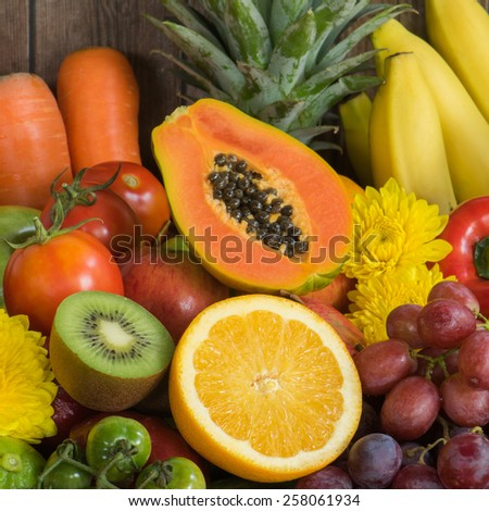 Close-up Fruits and vegetables - stock photo