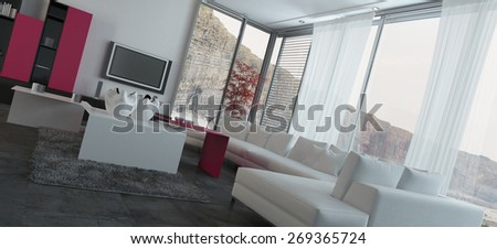 Close up Fully Furnished Architectural Living Room Design with Transparent Glass Windows. 3d Rendering. - stock photo