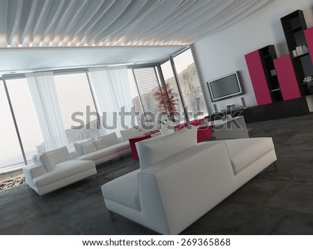 Close up Fully Furnished Elegant Living Room Design with White, Black and Dark Pink Furniture. 3d Rendering. - stock photo