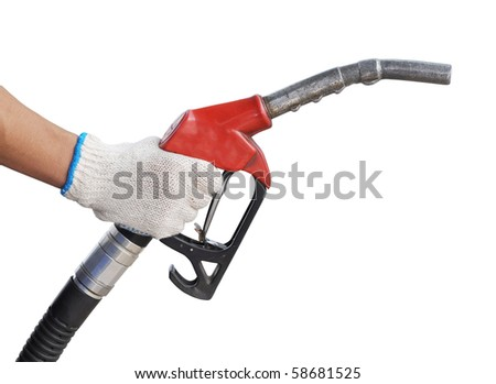 close up gas pump for refueling car on gas station isolated on white - stock photo