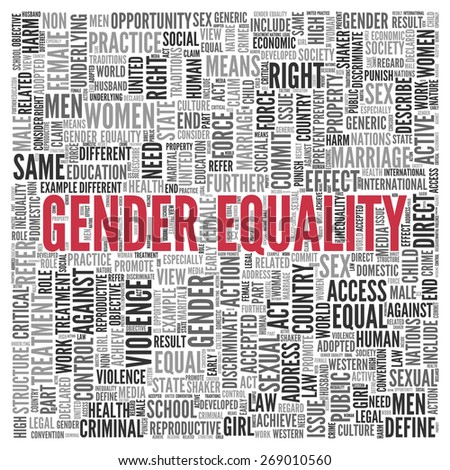 Close up GENDER EQUALITY Text at the Center of Word Tag Cloud on White Background. - stock photo