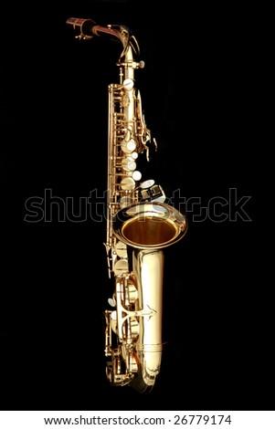close up gold alto saxophone on black background - stock photo